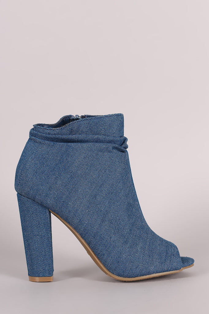 Bamboo Denim Slouchy Peep Toe Chunky Heeled Ankle Boots