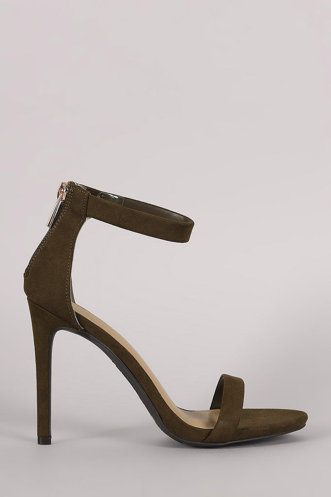 Anne Michelle Suede Ankle Strap Single Sole Heel