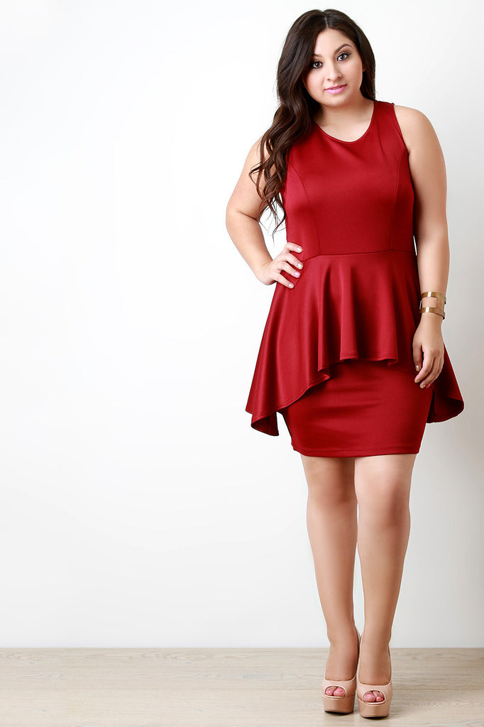 Asymmetrical Peplum Sleeveless Bodycon Dress