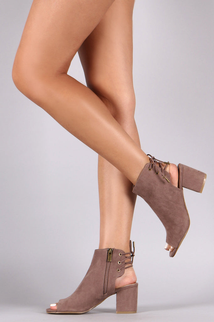 Bamboo Suede Back Lace Up Chunky Heel