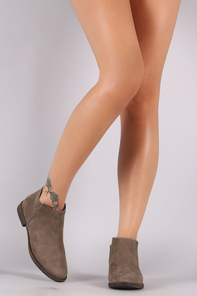 Bamboo Suede Flat Ankle Boots