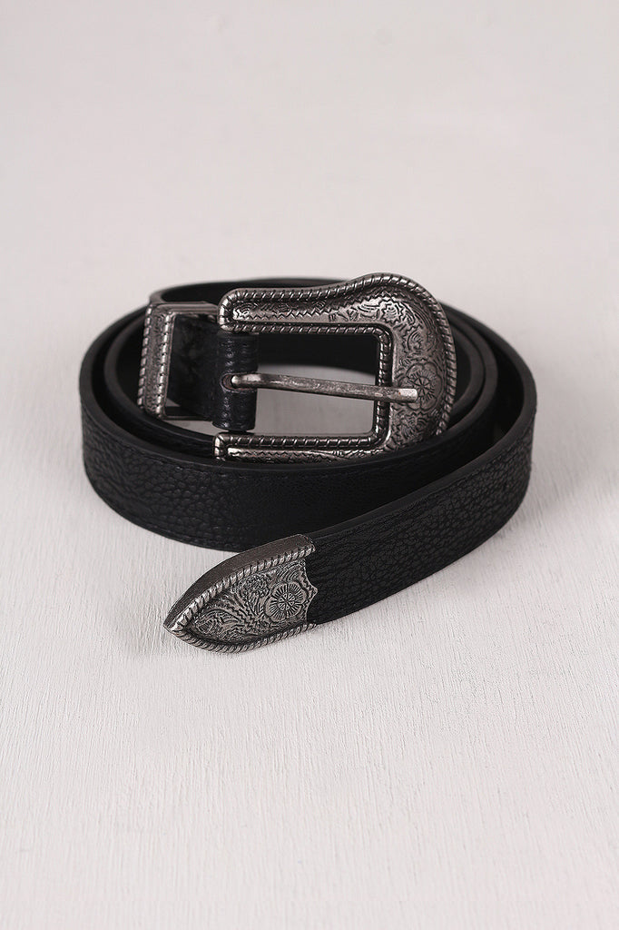 Floral Etched Buckle Textured Leather Belt