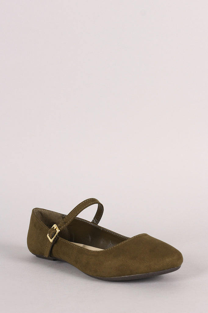 Bamboo Suede Round Toe Mary Jane Ballet Flat