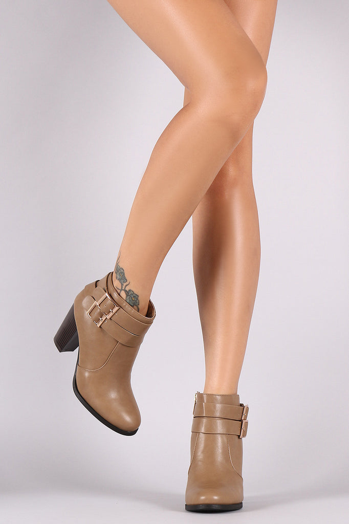 Bamboo Double Buckle Strap Chunky Heeled Ankle Boots