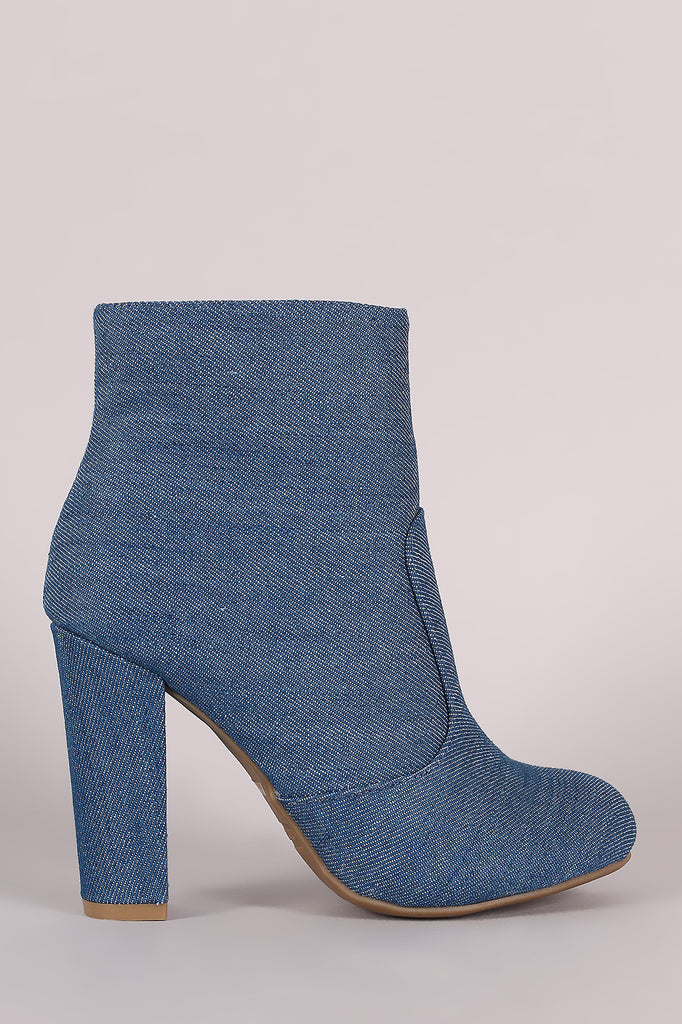 Bamboo Plain Denim Chunky Heeled Ankle Boots
