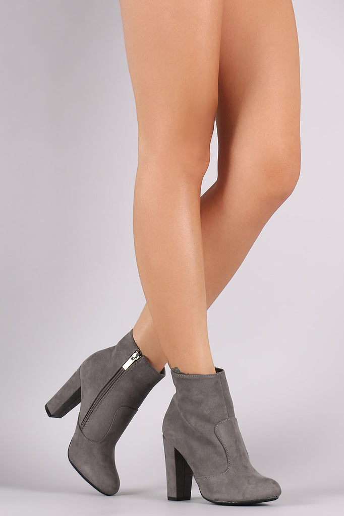 Bamboo Plain Suede Chunky Heeled Ankle Boots