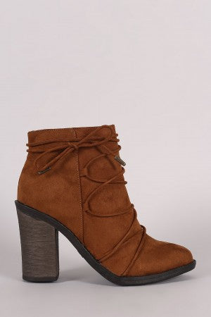 Bamboo Suede Lace Wrap Chunky Heeled Booties