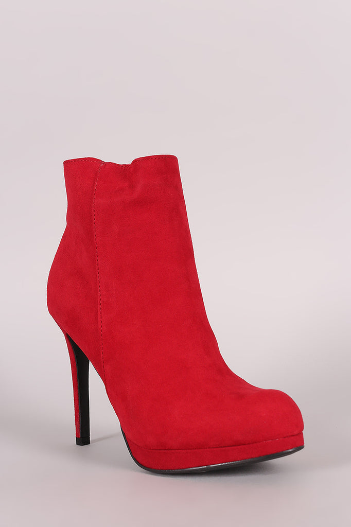 Anne Michelle Suede Stiletto Platform Booties