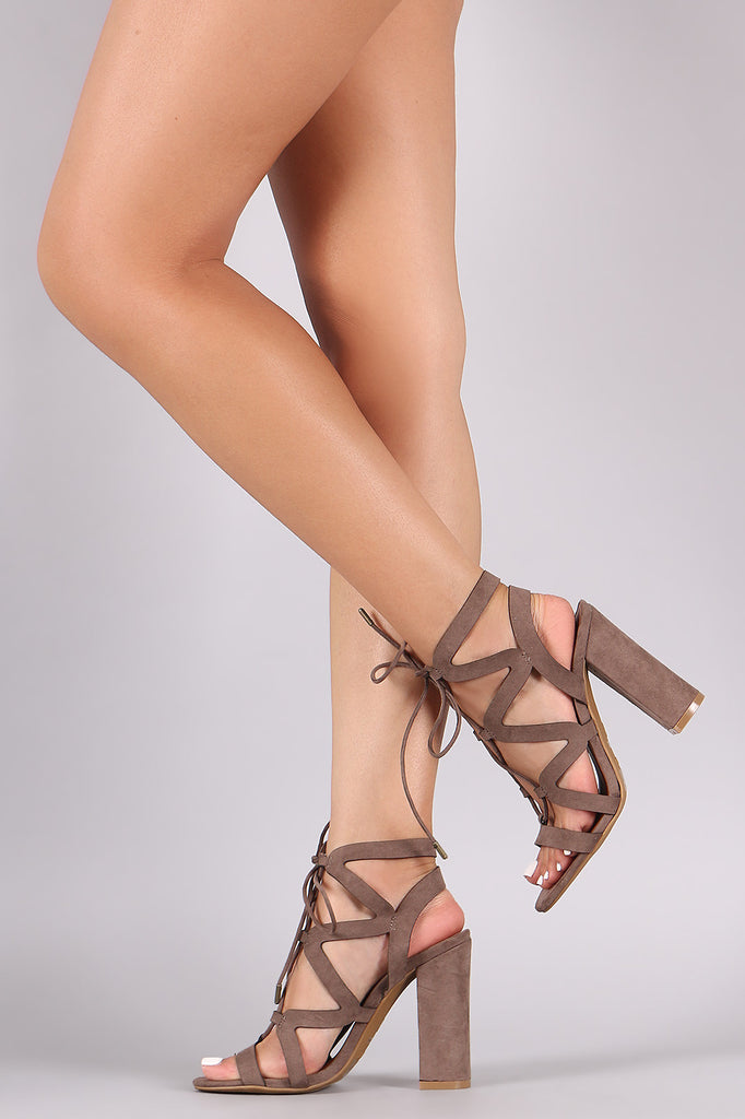 Bamboo Suede Wavy Straps Lace Up Chunky Heel
