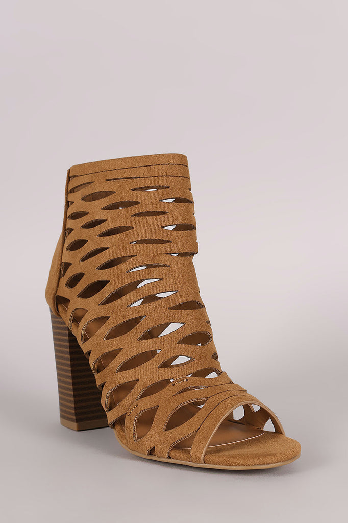 Bamboo Suede Caged Cutout Chunky Heeled Booties