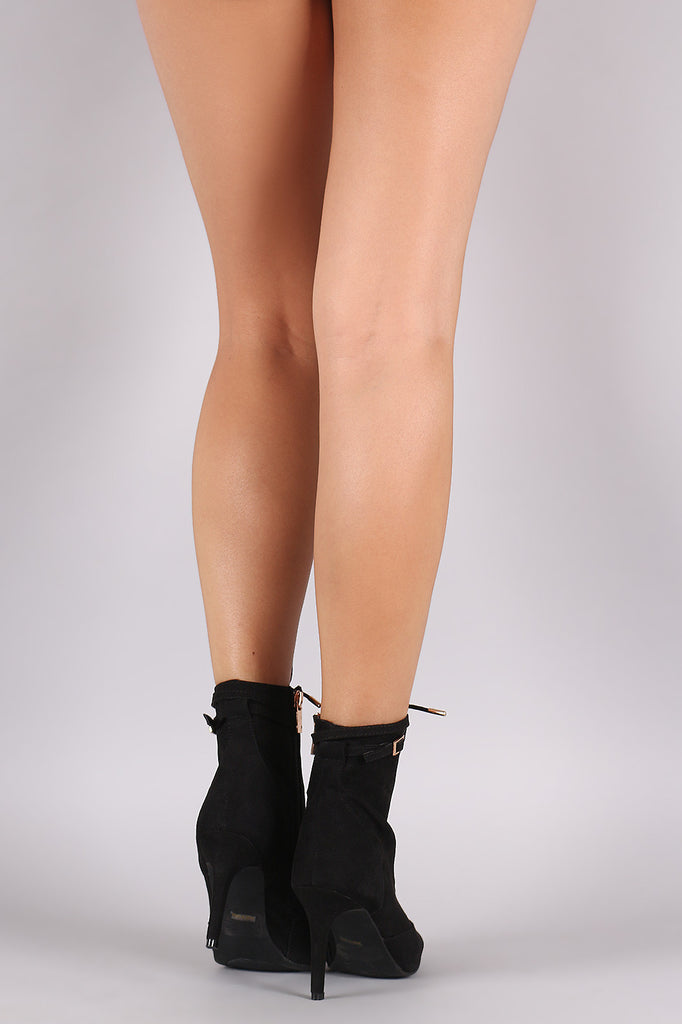 Bamboo Suede Pointy Toe Lace Up Booties