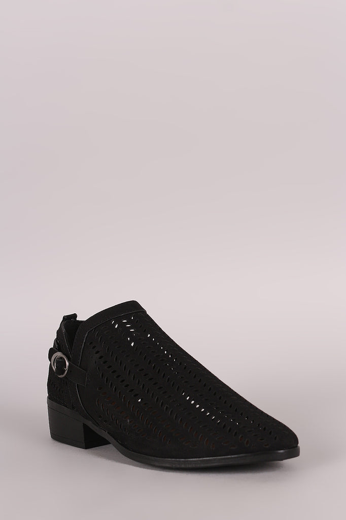Bamboo Perforated Almond Toe Booties