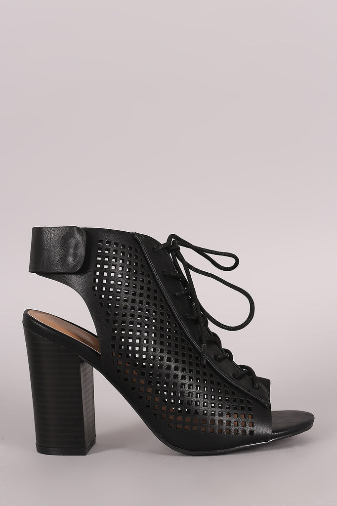 Bamboo Perforated Lace Up Chunky Heeled Mule Booties