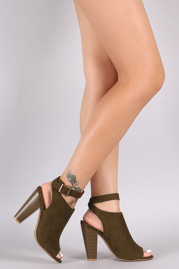 Bamboo Suede Buckled Ankle Strap Chunky Mule Booties
