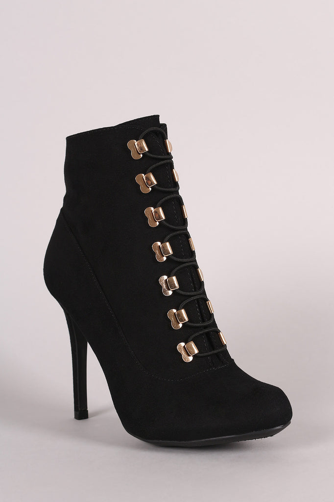 Anne Michelle Suede Elastic Lace-Up Stiletto Ankle Boots