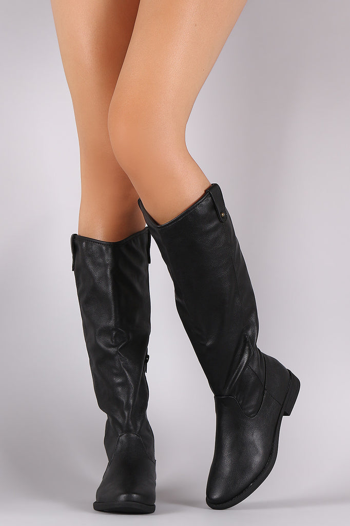 Bamboo Side Tab Riding Knee High Boots