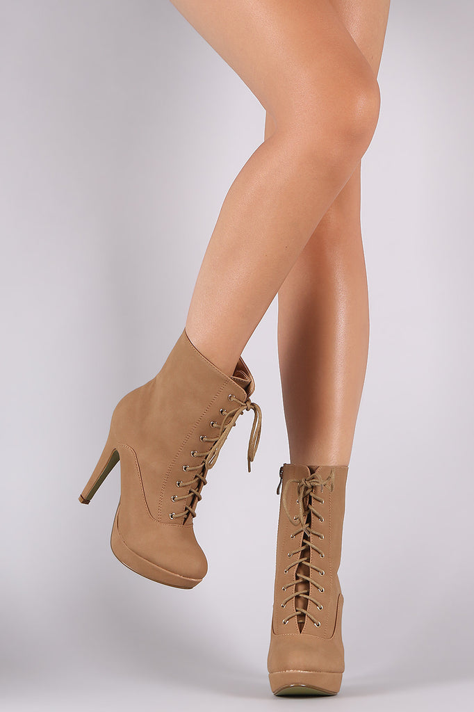 Almond Toe Lace Up Platform Heeled Booties