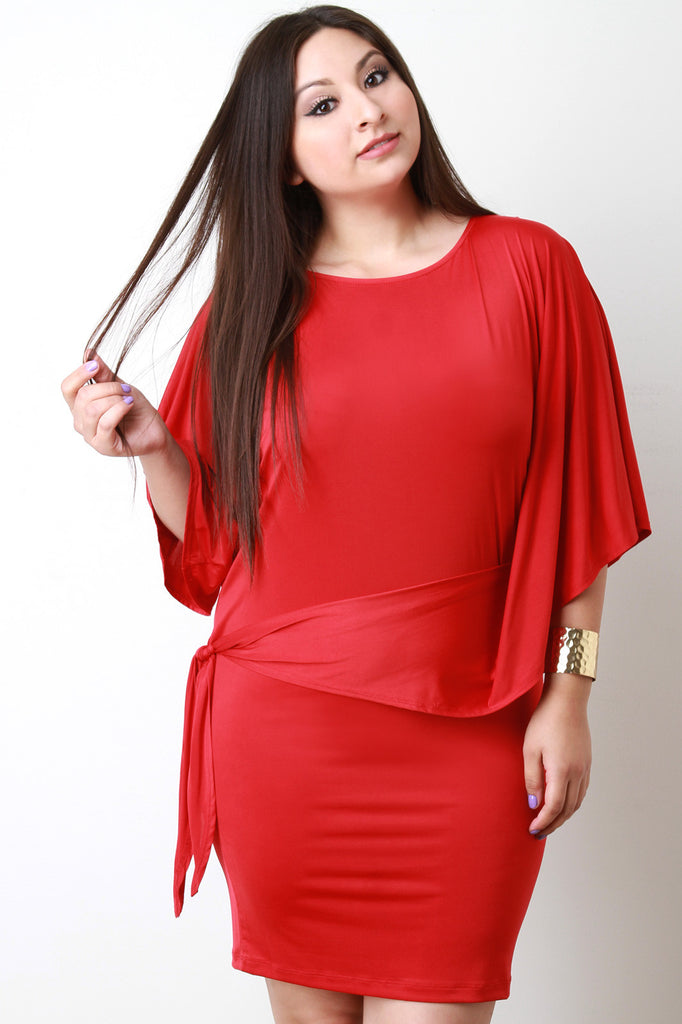 Asymmetrical Dolman Sleeve Tie Mini Dress