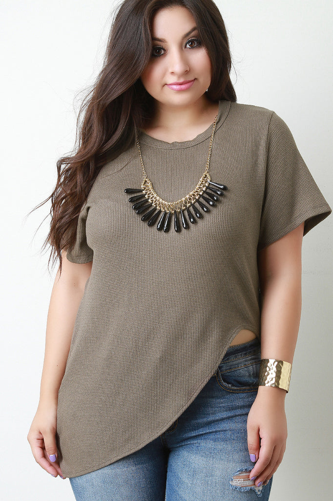 Asymmetrical Cut Thermal Necklace Top
