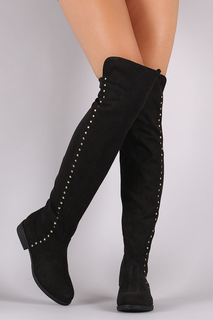 Bamboo Studded Elastane Fitted OTK Boots