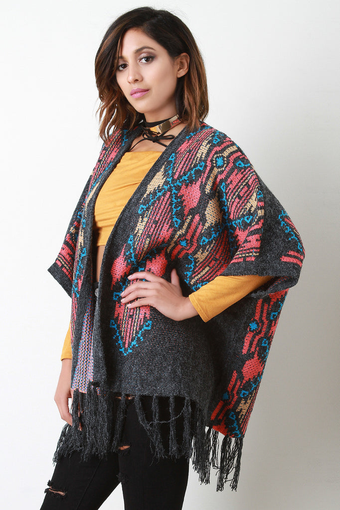 Aztec Pattern Frayed Tassel Open Front Poncho