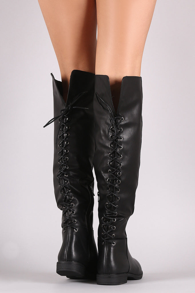 Bamboo Vegan Leather Lace Back Knee High Boots