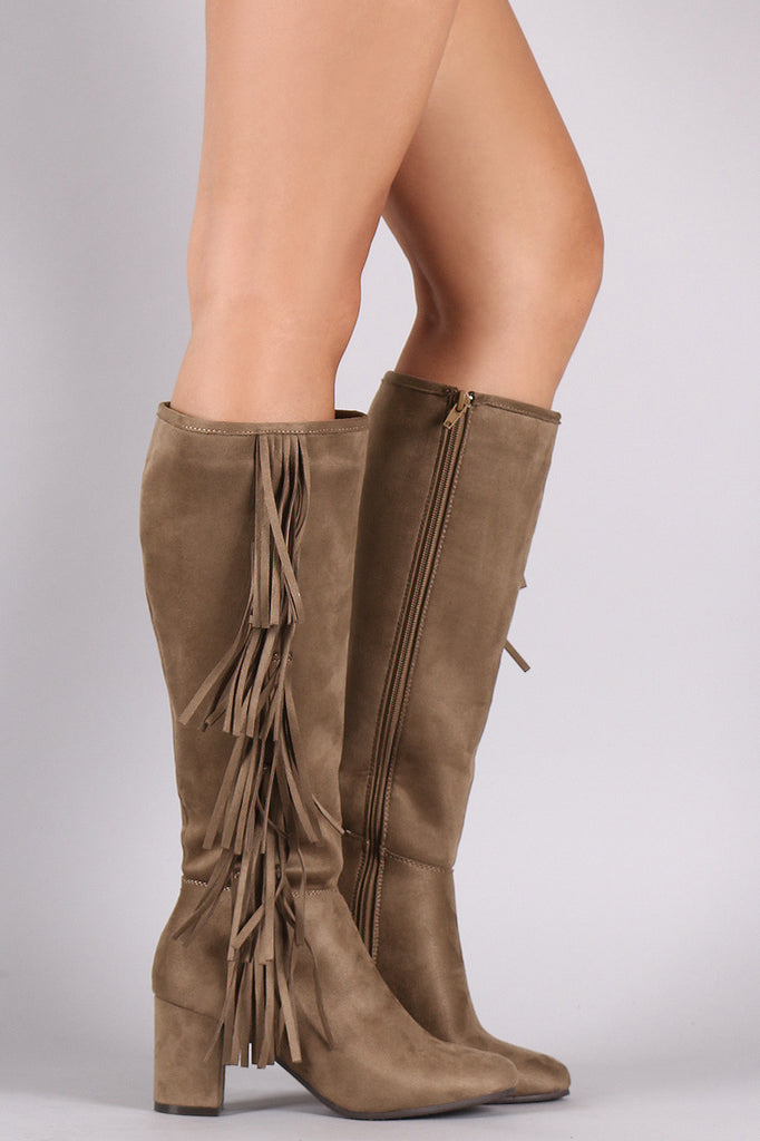 Suede Side Fringe Block Heeled Knee High Boots – Collective Fab