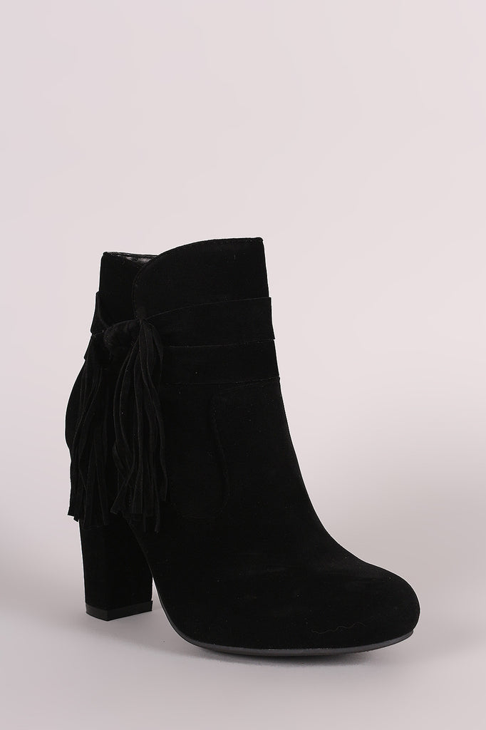 Bamboo Suede Knotted Side Fringe Chunky Heeled Booties