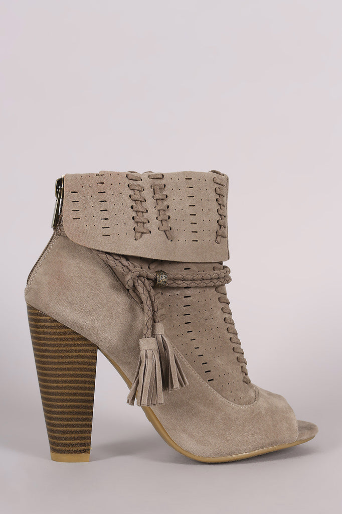 Bamboo Perforated Suede Cuff Tassel-Tie Chunky Heeled Booties