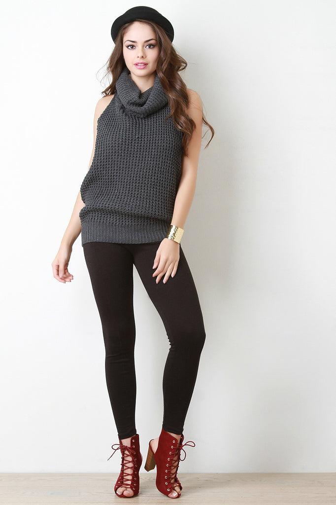 Back Crochet Turtleneck Sleeveless Top