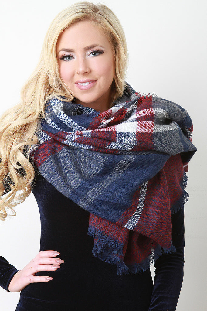 Girly Stripes Square Frayed Scarf