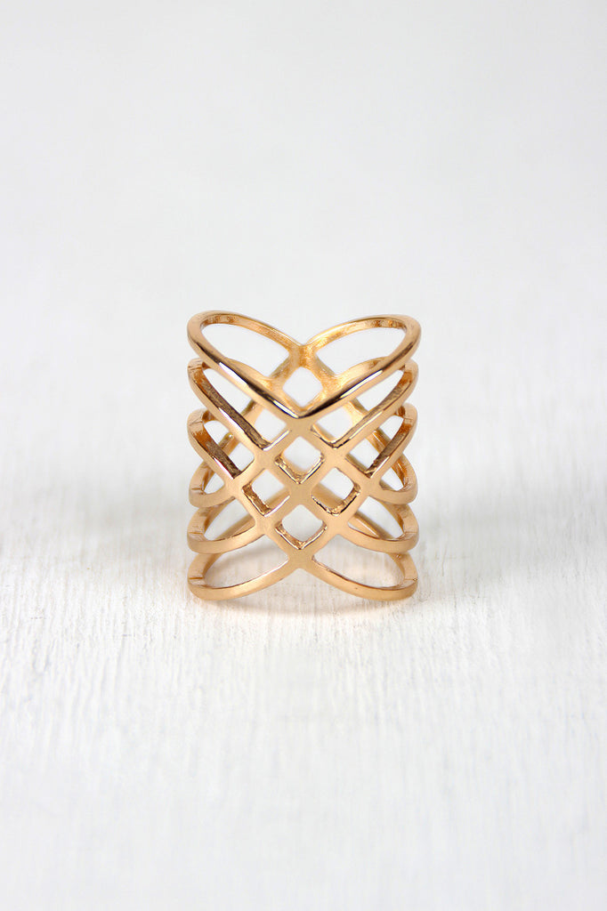 Crossover Diamond Cutout Armor Ring