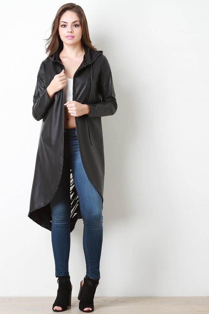 Vegan Leather Slashed Back Hooded Jacket