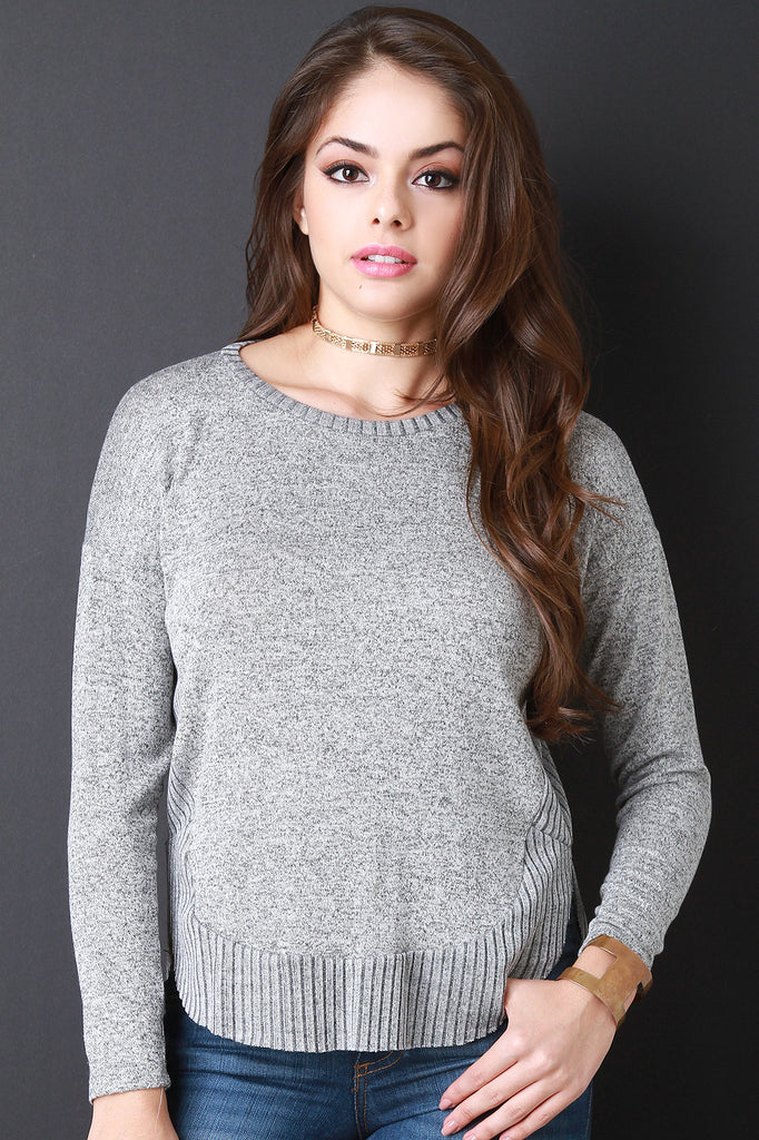 Ribbed Knit Trim Marled Knit Sweater Top