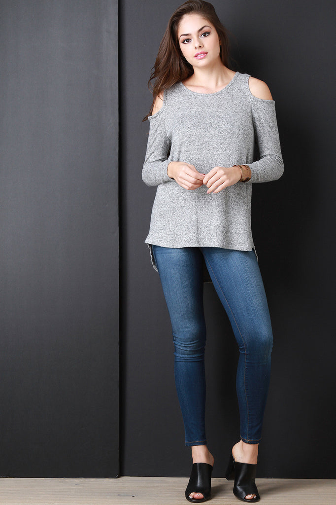 Cold Shoulder Marled Knit Sweater Top