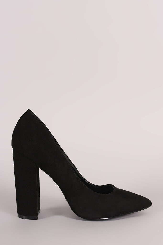 Qupid Suede Chunky Heeled Pointy Toe Pump