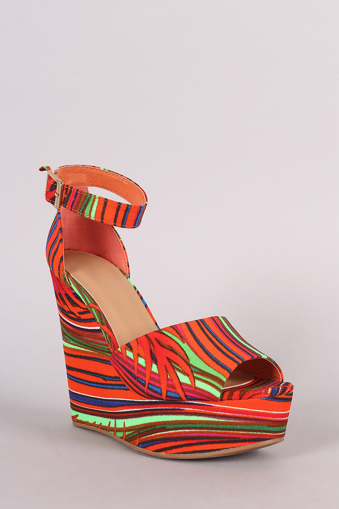 Bamboo Tropical Print Ankle Strap Platform Wedge