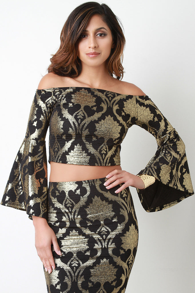Baroque Metallic Bell Sleeve Crop Top