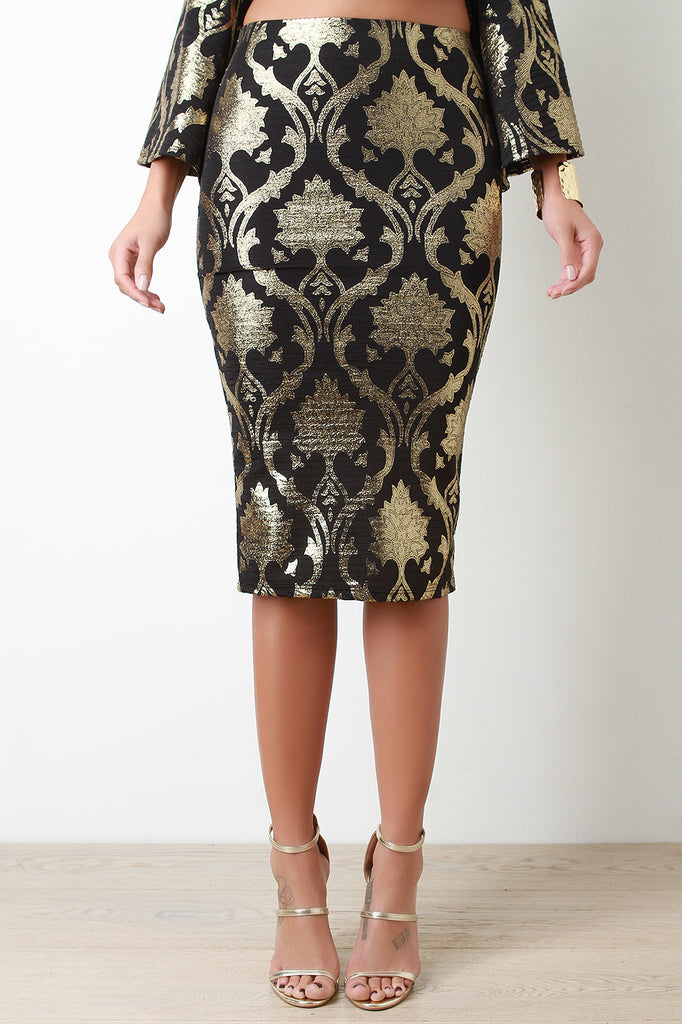 Baroque Metallic Pencil Midi Skirt