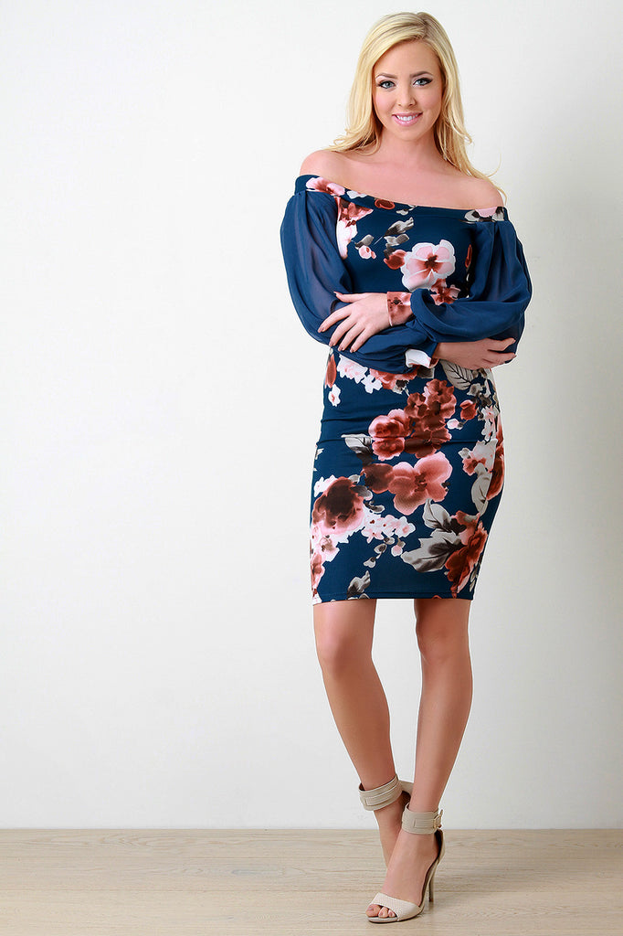 Blossom Print Off-The-Shoulder Cuff Sleeves Dress