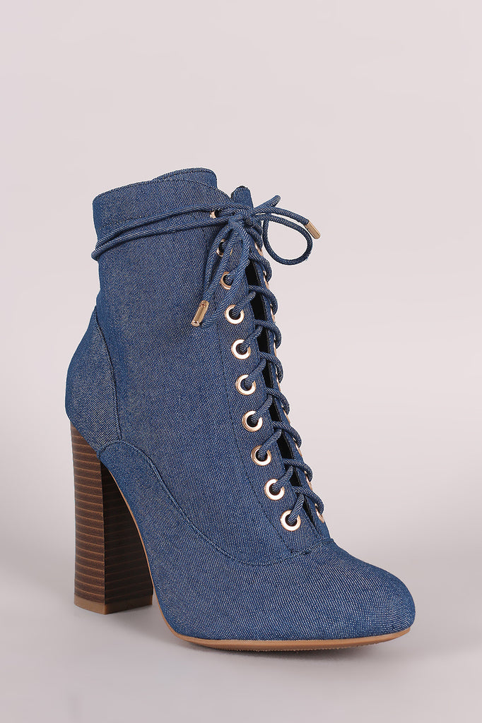 Bamboo Denim Lace Up Chunky Heeled Ankle Boots