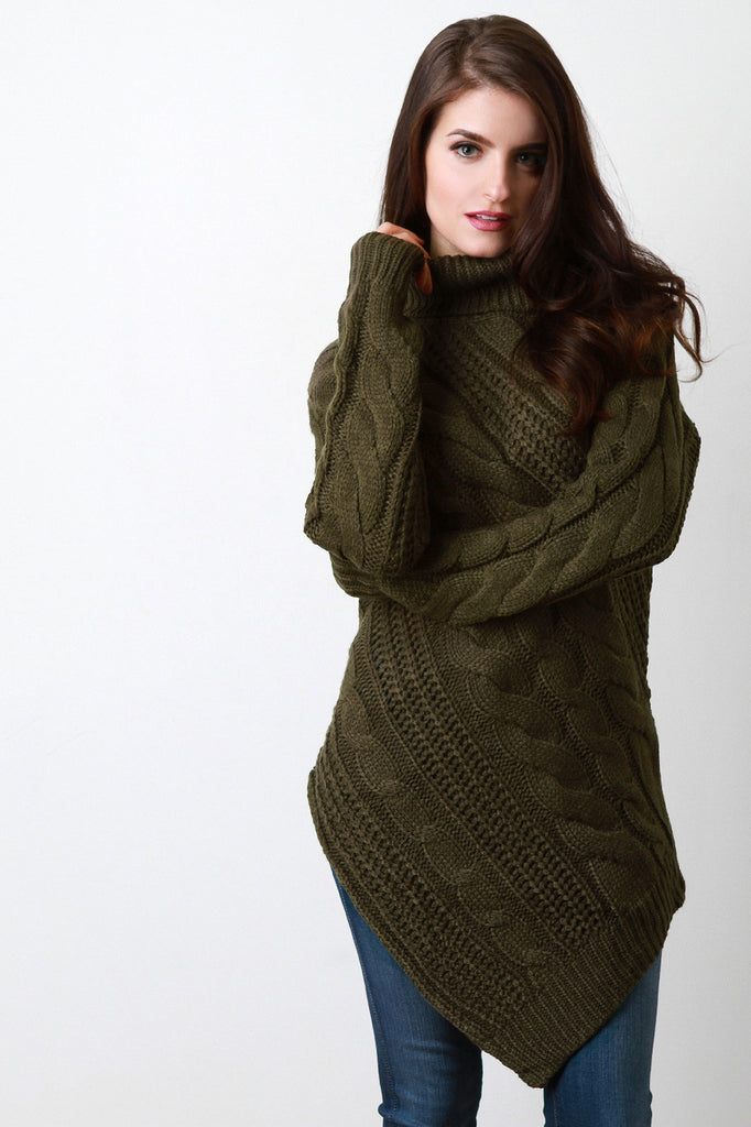 Bias Cut Turtle Neck Chunky Knit Sweater
