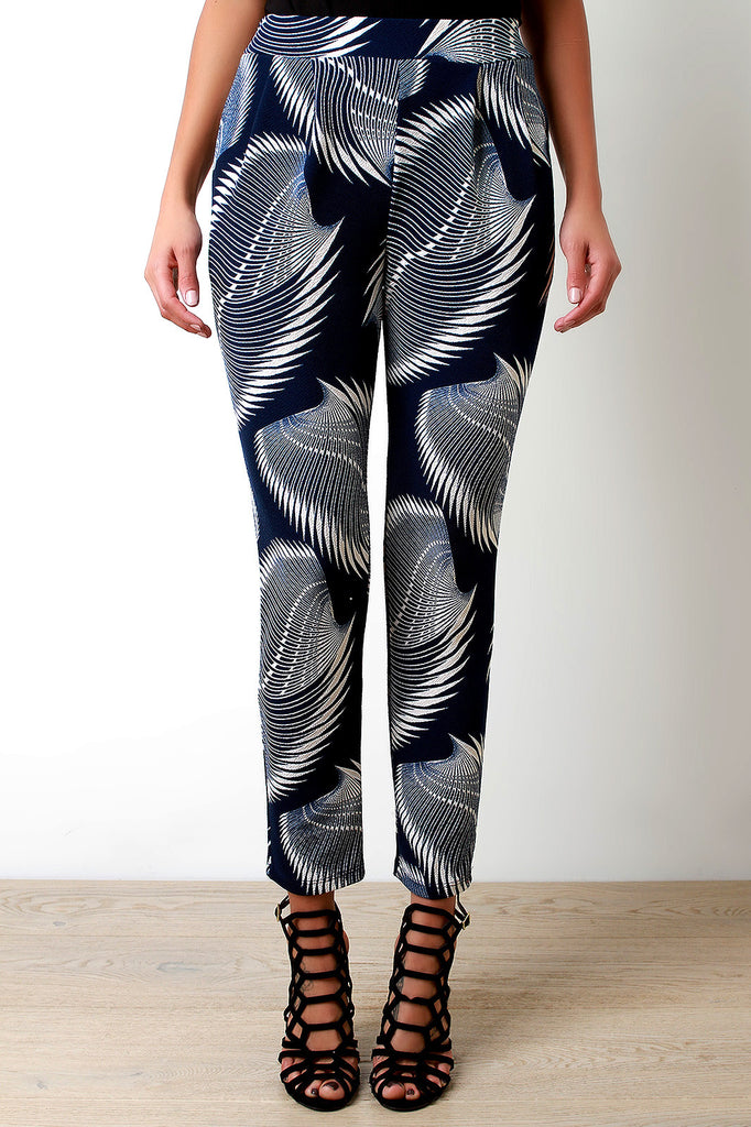 Abstract Blades Print High Waist Pocketed Pants
