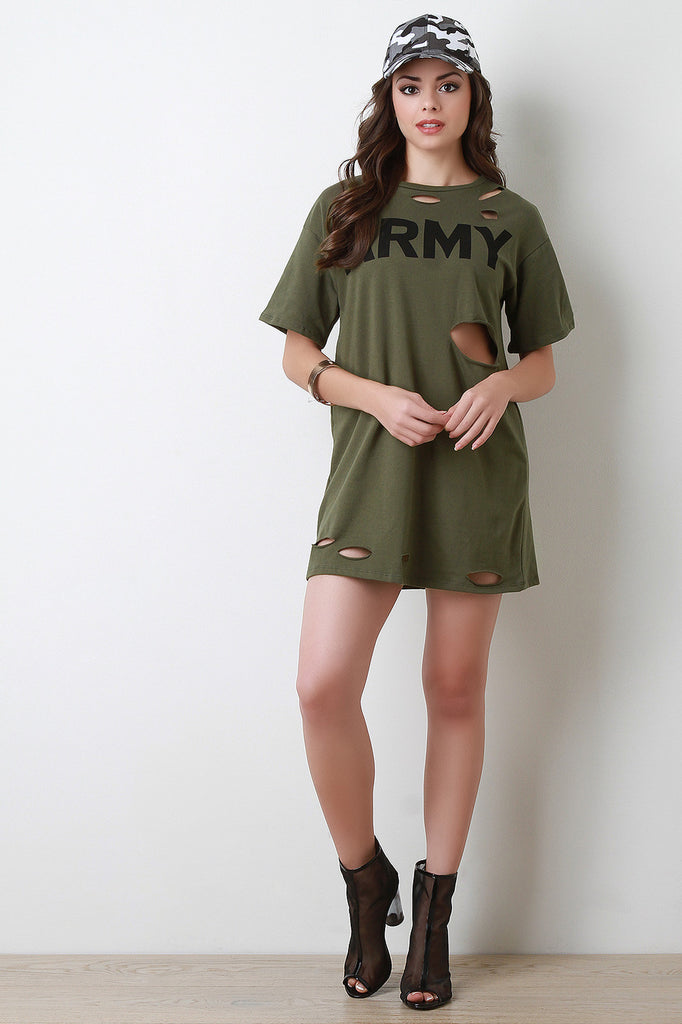 Army Distressed French Terry Tunic Dress