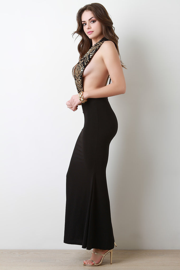 Baroque Metallic Plunge Neck Maxi Dress