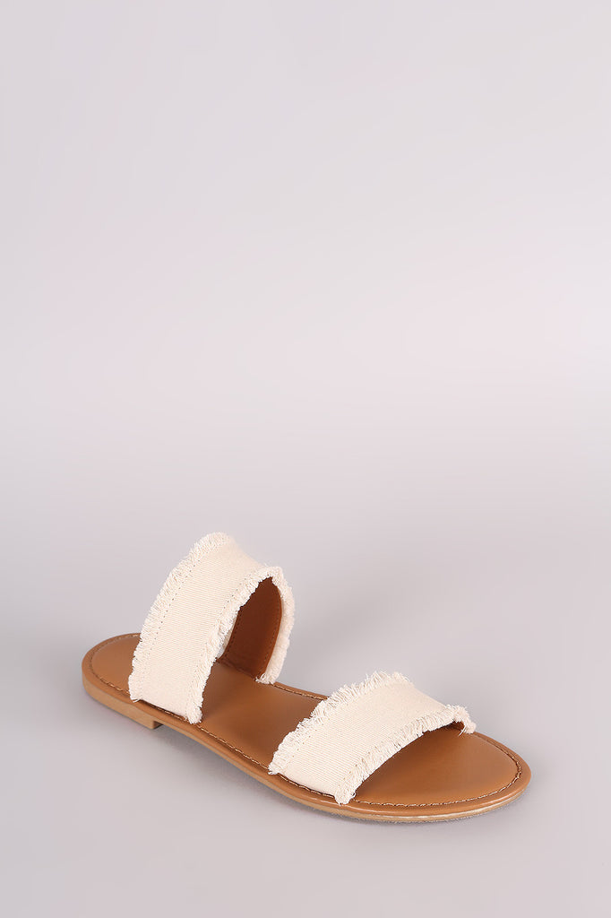 Bamboo Two Band Frayed Canvas Slide Sandal