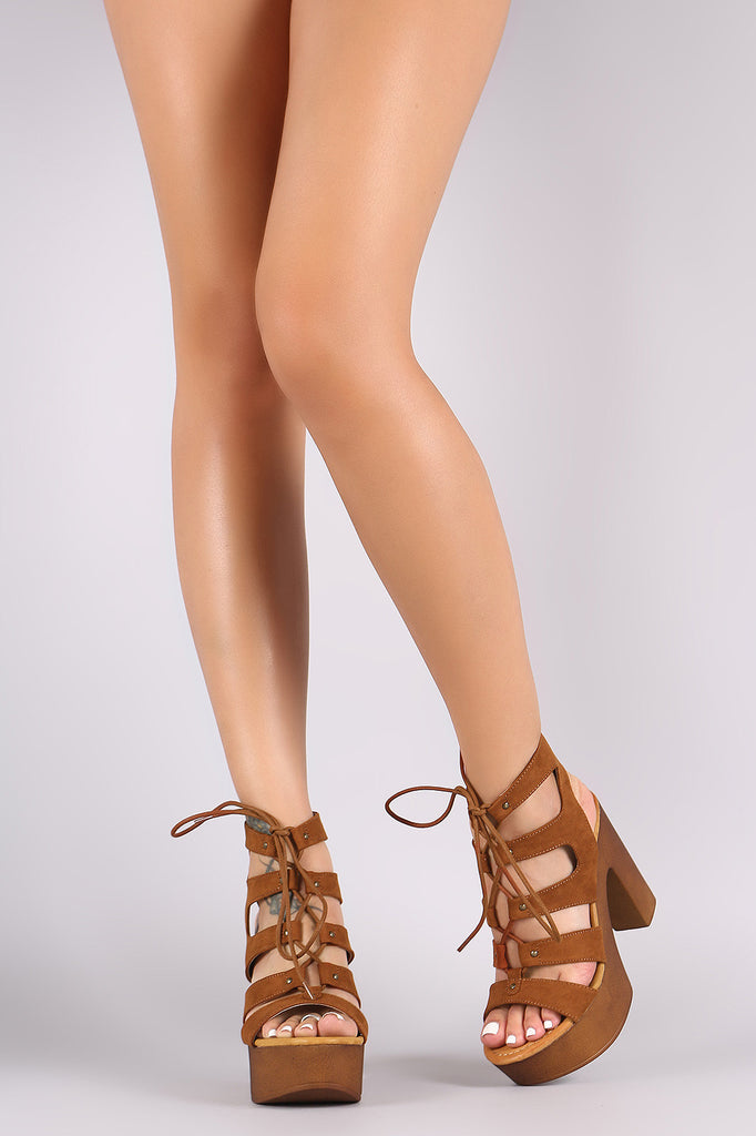 Bamboo Open Toe Lace Up Chunky Ghillie Platform Heel