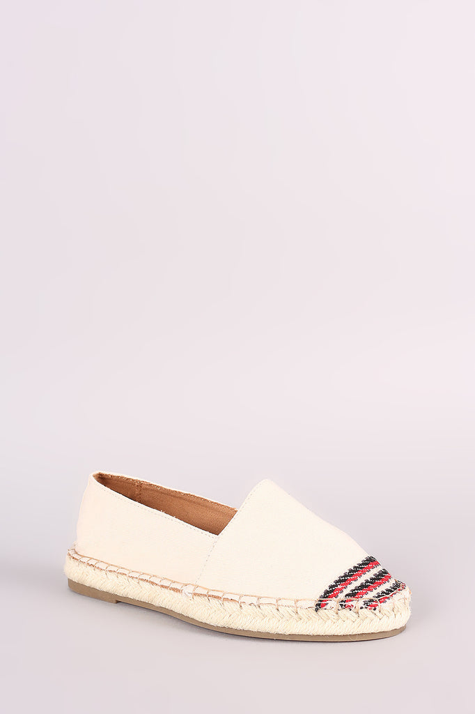 Bamboo Canvas Braided Espadrille Slip On Loafer Flat