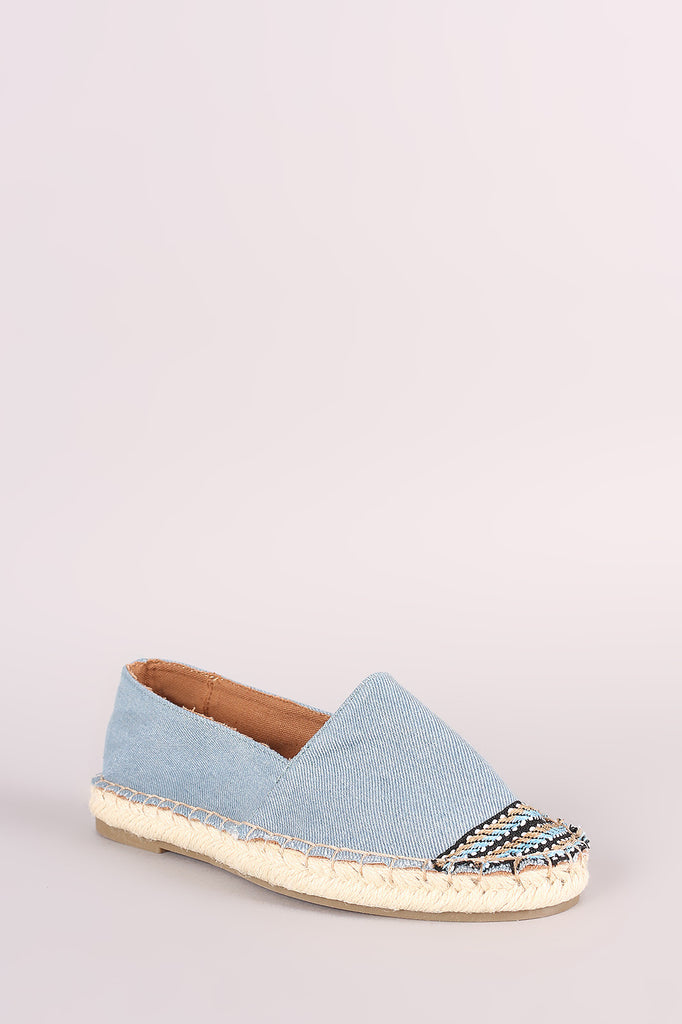 Bamboo Denim Braided Espadrille Slip On Loafer Flat