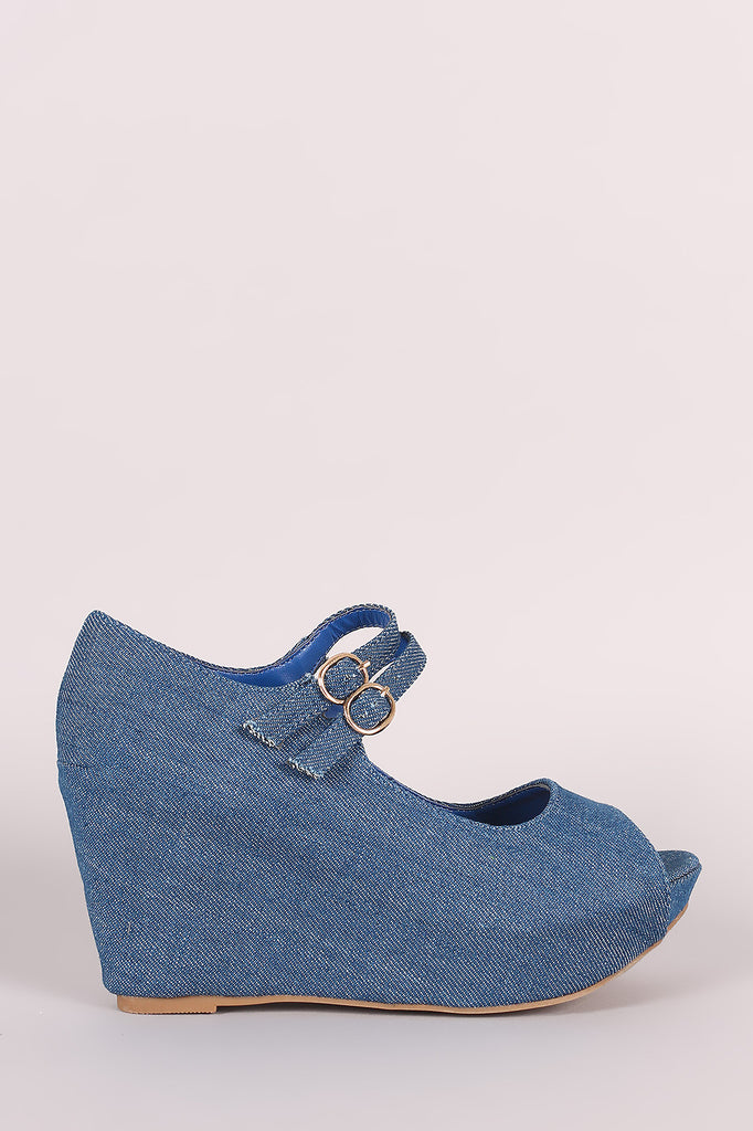 Bamboo Denim Double Mary Jane Strap Platform Wedge